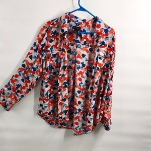 Investments button down polka Dot Top L